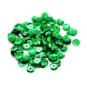 Dark Green Cupped Acrylic Loose Sequins 6-7mm Pack Of 30g Y13065