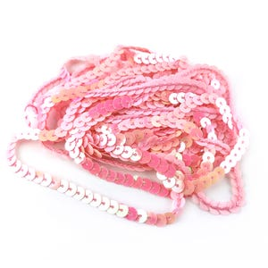 Pink Acrylic Flat AB Sequin Trim 5M Continuous Length 6mm Wide Y13070