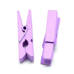 Purple Spray Painted Mini Wood Craft Pegs 35mm x 10mm Pack Of 30 Y13105