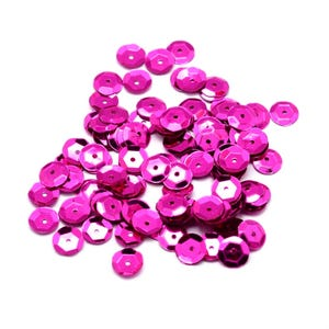Fuchsia Cupped Acrylic Loose Sequins 6-7mm Pack Of 30g Y13135