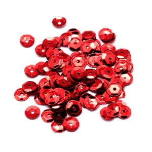 Dark Red Cupped Acrylic Loose Sequins 6-7mm Pack Of 30g Y13155