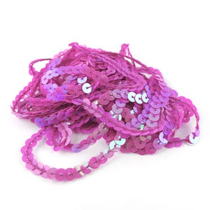 Fuchsia Acrylic Flat AB Sequin Trim 5M Continuous Length 6mm Wide Y13205