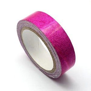 Fuchsia Adhesive Glitter Washi Tape 4M Roll 15mm Wide Y13235