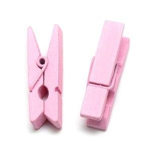 Pale Pink Spray Painted Mini Wood Craft Pegs 35mm x 10mm Pack Of 30 Y13245