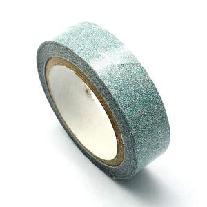 Pale Blue/Silver Adhesive Glitter Washi Tape 4M Roll 15mm Wide Y13255