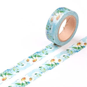 Blue/White Adhesive Flower Washi Tape 10M Roll 15mm Wide Y13260