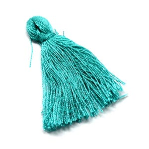 Turquoise Polyester Tassels 3cm Pack Of 10 Y13310