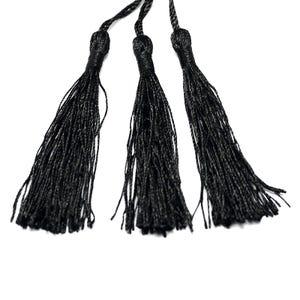 Black Silky Polyester Tassels 8cm Pack Of 5 Y13335