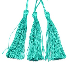 Teal Green Silky Polyester Tassels 8cm Pack Of 5 Y13345