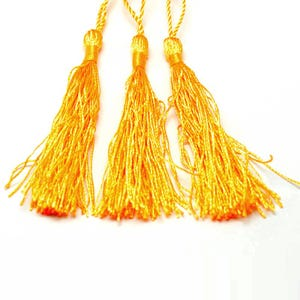 Dull Yellow Silky Polyester Tassels 8cm Pack Of 5 Y13460