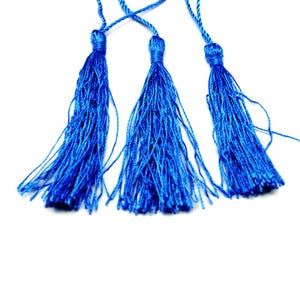 Blue Silky Polyester Tassels 8cm Pack Of 5 Y13610