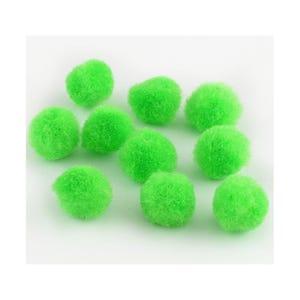 Lime Green Fluffy Yarn Pom Poms 15mm Pack Of 50+ Y13630