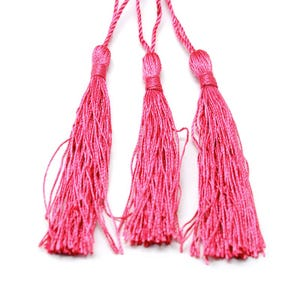 Bright Pink Silky Polyester Tassels 8cm Pack Of 5 Y13640