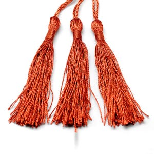 Copper Silky Polyester Tassels 8cm Pack Of 5 Y13715