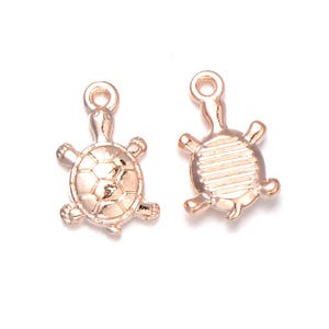 Rose Gold Tibetan Zinc Turtle Charms 11mm x 18mm Pack Of 3 Y13885