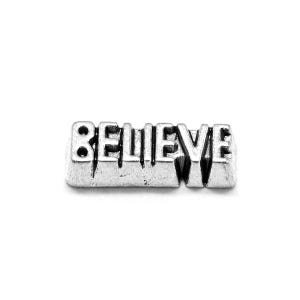 Silver Tibetan Zinc Believe Floating Charms 4mm x 11mm Pack Of 10 Y13900