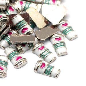 Silver/White Enamel & Alloy Coffee Cup Floating Charms 5mm x 10mm Pack Of 5 Y13905