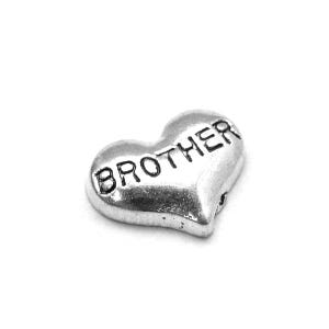 Silver Tibetan Zinc Brother Floating Charms 7mm x 9mm Pack Of 10 Y13915