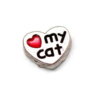 Silver/Red Tibetan Zinc I Love Cats Floating Charms 7mm x 8mm Pack Of 5 Y13925
