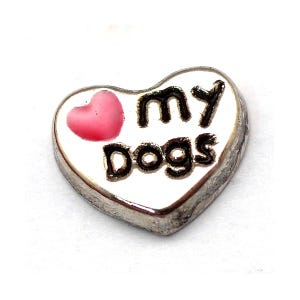 Silver Tibetan Zinc I Love My Dog Floating Charms 7mm x 9mm Pack Of 5 Y13930