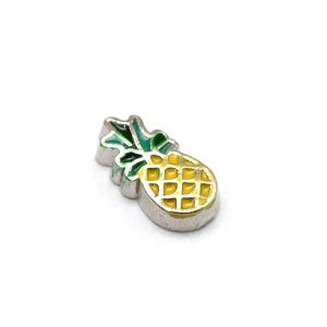 Silver/Yellow Enamel & Alloy Pineapple Floating Charms 5mm x 10mm Pack Of 5 Y13950