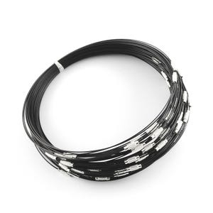 Black/Silver Stainless Steel 44cm Necklace Blanks Pack Of 8 Y14005