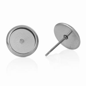 Silver 304 Stainless Steel 7.8mm Coin Earring Cabochon Settings Pack Of 10 Y14010
