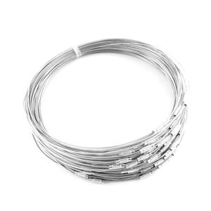 Silver Stainless Steel 44cm Necklace Blanks Pack Of 8 Y14045