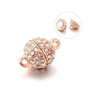 Rose Gold/Silver Alloy & Rhinestone 16mm x 10mm Round Magnetic Clasps Pack Of 2 Y14145