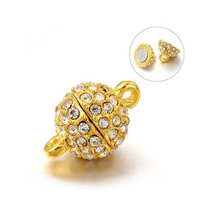 Golden/Silver Alloy & Rhinestone 16mm x 10mm Round Magnetic Clasps Pack Of 2 Y14225