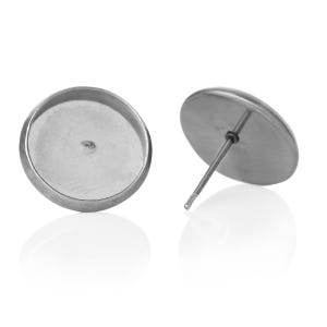Silver Stainless Steel 11.8mm x 11.8mm Coin Earring Cabochon Settings Pack Of 10 Y14235