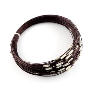 Dark Brown/Silver Stainless Steel 44cm Necklace Blanks Pack Of 8 Y14385