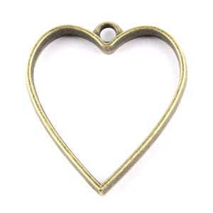 Antique Bronze Metal Alloy 30mm x 35mm Heart Cabochon Settings Pack Of 5 Y14460