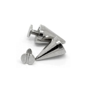 Silver Tone Metal Alloy 10mm x 15mm Cone Screw On Studs Pack Of 10 Y14485