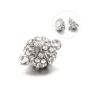 Silver Alloy & Rhinestone 16mm x 10mm Round Magnetic Clasps Pack Of 2 Y14565