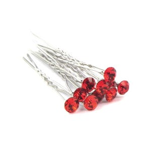 Red/Silver Metal Alloy 7cm Round Hair Pins Pack Of 5 Y14580