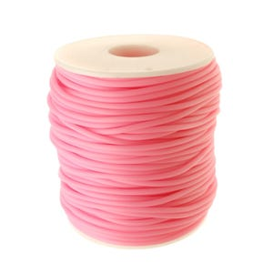 Pale Pink Rubber Hollow Tube Cord 5M Continuous Length 2mm Thick Y14655
