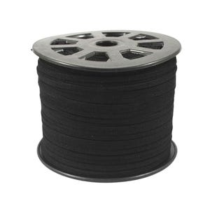 Black Faux Suede Flat Cord 5M Continuous Length 1.5mm x 5mm Thick Y14670