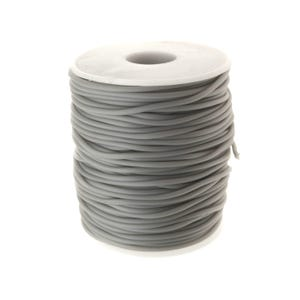 Grey Rubber Hollow Tube Cord 5M Continuous Length 2mm Thick Y14675