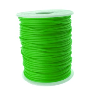 Bright Green Rubber Hollow Tube Cord 5M Continuous Length 2mm Thick Y14685