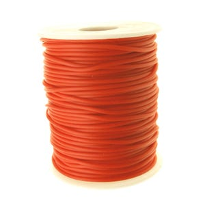 Bright Orange Rubber Hollow Tube Cord 5M Continuous Length 2mm Thick Y14700