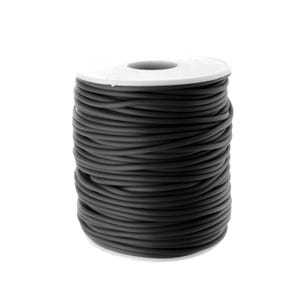 Black Rubber Hollow Tube Cord 5M Continuous Length 2mm Thick Y14730