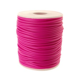 Bright Pink Rubber Hollow Tube Cord 5M Continuous Length 2mm Thick Y14740