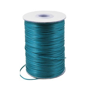 Teal Blue Waxed Polyester String Cord 10M Continuous Length 1mm Thick Y14770