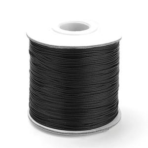 Black Waxed Polyester String Cord 15M Continuous Length 0.5mm Thick Y14820
