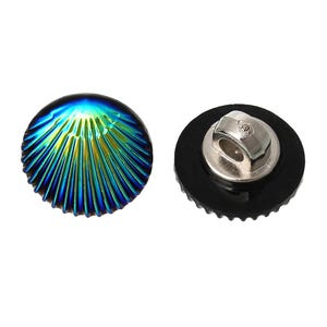 Blue/Green Acrylic 12mm Shank Shell Buttons Pack Of 10 Y15000