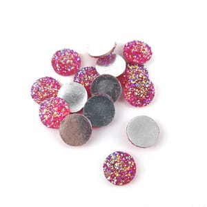 Pink AB Resin 12mm Calibrated Druzy Coin Cabochons Pack Of 15 Y15035