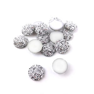 Silver AB Resin 12mm Calibrated Druzy Coin Cabochons Pack Of 15 Y15040