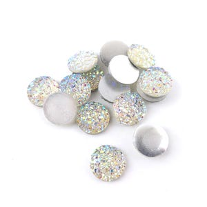 White AB Resin 12mm Calibrated Druzy Coin Cabochons Pack Of 15 Y15070