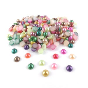 Mixed-Colour Pearlised Acrylic 8mm Calibrated Dome Cabochons Pack Of 300+ Y15095